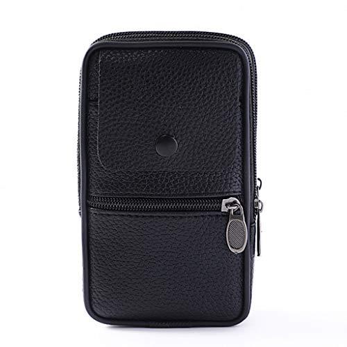 PING moda al aire libre vertical pu cuero hombres cintura paquete portátil cremallera monedero teléfono bolsa, Bk,