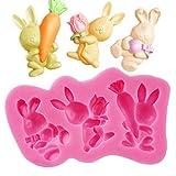 3 agujeros lindo mini dibujos animados que lleva el conejo zanahoria para DIY Cake Fondant Baking Biscuit 3D Chocolates caramelos duros postres pegamento gota decoración silicona molde herramienta