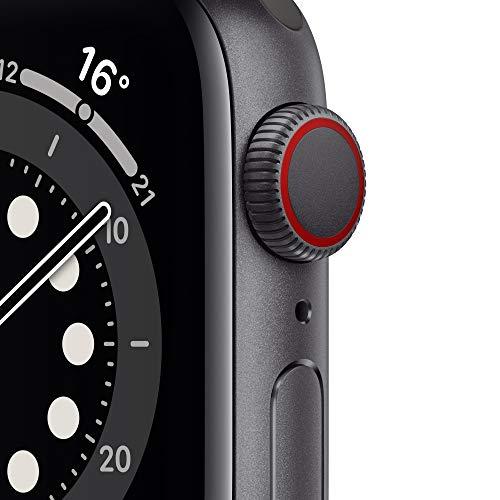 AppleWatch Series6 (GPS+ Cellular, 40mm) Aluminiumgehäuse Space Grau, Sportarmband Schwarz