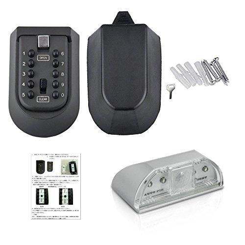 Mercury 暗証番号でカギを管理 ボタン式簡単施錠 解除 防犯 鍵 key 固定型 キーボックス 人感LEDライト付きで夜間も安心 日本語説明書付属