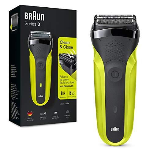 Braun Series 3 300 Afeitadora Eléctrica, Maquinilla para Hombre con 3 Láminas Flexibles, Recargable, Inalámbrica, Lavable, Color Negro/Verde