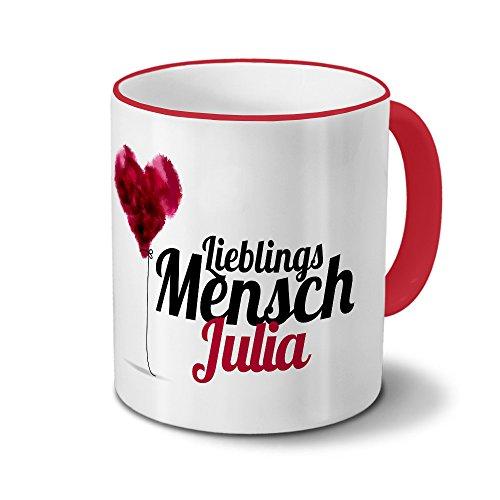 printplanet Tasse mit Namen Julia - Motiv Lieblingsmensch - Namenstasse, Kaffeebecher, Mug, Becher, Kaffeetasse - Farbe Rot