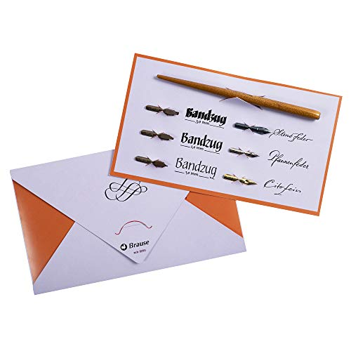Brause 1137B Kalligraphie-Set Tasche (mit Schreibfederhalter in Holz und 6Kalligraphie-Federn, elfenbein)