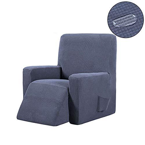 Cubre Sofa Chaise Longue Impermeable, Superelásticas Jacquard Fundas De Sofá Fácil De Instalar Antiincrustante Protector De Muebles para Relajarse Sillón-1 Asiento 90-110cm-Gris Oscuro