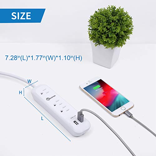 USB Power Strip Surge Protector Long Extension Cord 6 feet, 3 Outlets, 2 USB Ports (2.4A/12W), Overload Protection, Mountable Power Strip for Home Office, 1250W/10A, SGS Listed, White 7