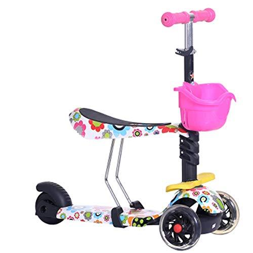 Triciclo portátil Triciclo Triciclo Presente Triciclo Niños bebé scooter niños 5 en 1 PU 3 ruedas Intermitente Swing Car Lifting 2-15 años Cochecito Paseo Bicicleta Vehículo Equilibrio al aire libre J