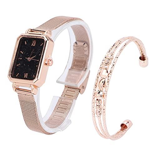 WLGOLD Conjunto de Pulsera de Reloj, Esfera de Forma Cuadrada Reloj de Cuarzo Conjunto de Pulsera de joyería Reloj de Pulsera para Mujer Regalo