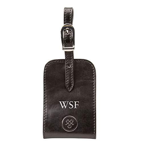 Maxwell Scott Luxury Leather ID Luggage Tag - Ledro Black