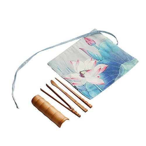 Juego de licuadora de Bamboo Matcha, Juego de Cinco Piezas, Kit de Inicio de Ceremonia de Ceremonia de Matcha, Adecuado para la Ceremonia de té Tradicional China (Color : C, Size : 23 * 25cm)