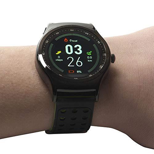 Denver Electronics SW-450 Bluetooth-Sport-Smartwatch mit Herzfrequenzsensor,Barometer und Thermometer, Schwarz/Grün