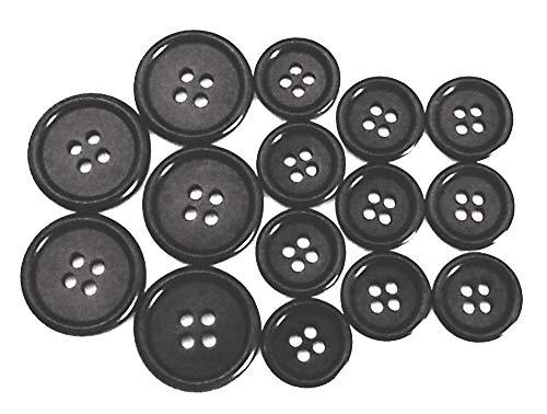 15 Anzug Knöpfe Echt Steinnuss schwarz 5x20mm 10x15mm