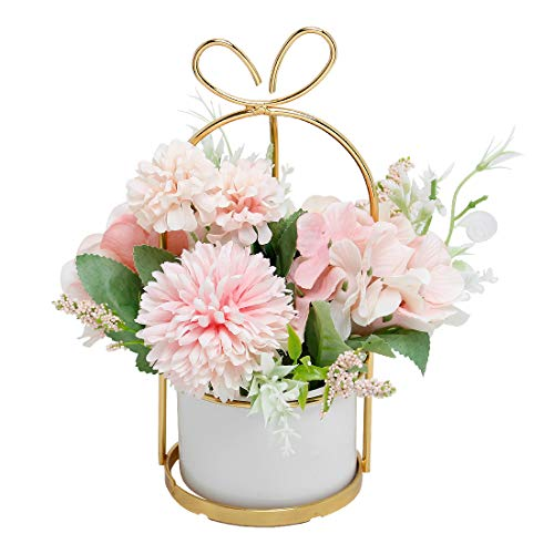 Artificial Flowers Hydrangea with Ceramic Vase Silk Chrysanthemum Mini Potted Fake Flowers Hanging Potted Plants for Wedding Home Office Decoration Pack of One (Pink)