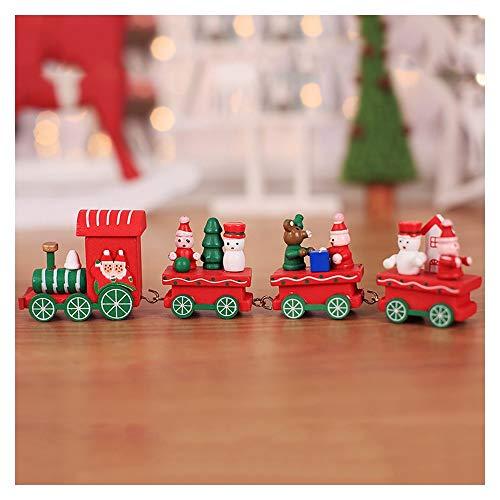Aqiong Hibeilinq Schöne Weihnachtsdekoration for Haus kleinen Zug Holzeisenbahn-Dekor-Ornament New Year Lieferungen Bastelmaterial (Color : Red)