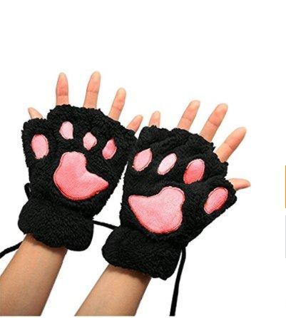 Youji invierno amantes de las mujeres lindo gato garra pata mitones de felpa cortos guantes sin dedos cálido medio dedo guantes