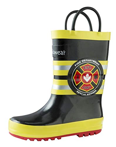 OAKI Kids Rubber Rain Boots with Easy-On Handles, Fireman, 12T