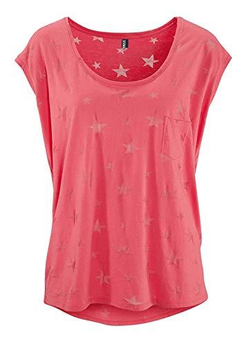 TrendiMax Damen T-Shirt Tops Ärmellos Basic Sommer Shirts Allover-Sternen Druck Sexy Oberteil (Koralle, L)