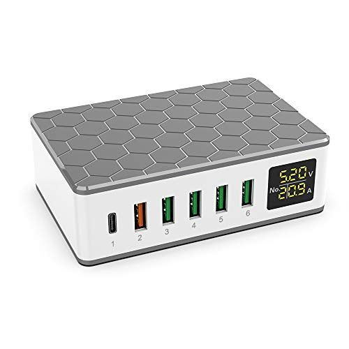 KitBox 65W USB Charging Station with 20W PD Charger and 18W QC3.0 Fast Charger for CellPhone Tablet Headphone etc.