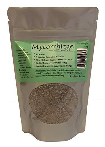 Mycorrihzae - 4oz Bag, 140 Million Ectomycorrhizal Fungi, 5 Species Beneficial Bacteria, Slow Release Organic Fertilizer 3-1-1, 30,000 Endomycorrhizal Fungi