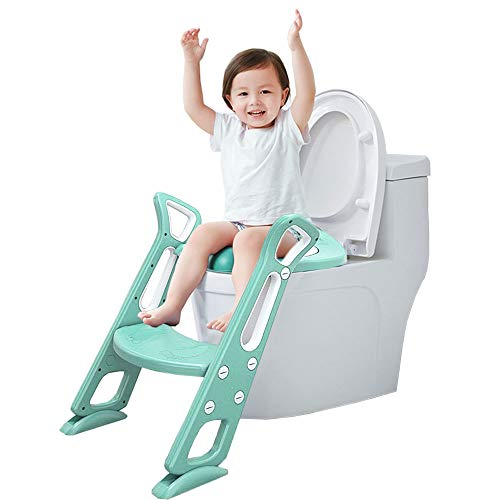 HUGmeee 補助便座 ステップ式 トイレトレーニング おまる 子供用 幼児用便座 キッズ用便座 子どもトイレ ベビートイレ 補助 取外し可能 折りたたみ 踏み台 (ミント)