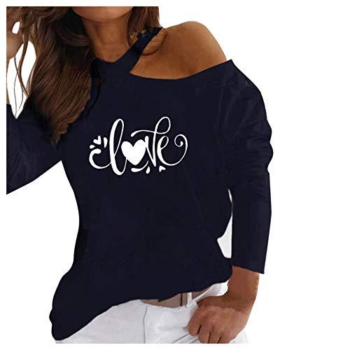 Finebo Camisa del día de San Valentín para Mujer, Camisetas con Estampado de Corazones, Sudadera de Talla Grande, Blusa, Manga Larga, Cuello Redondo, Hombros con Fugas