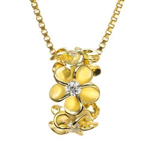 Sterling Silver CZ Plumeria Halo Necklace Pendant with 18' Box Chain (Gold)