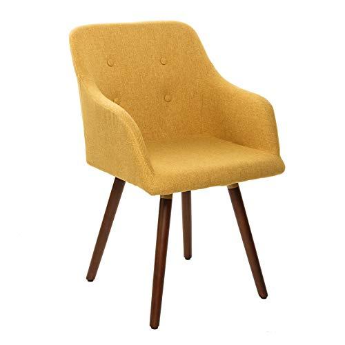 Invicta Interior Retro Design Stuhl Scandinavia MEISTERSTÜCK senfgelb mit Armlehne Esszimmerstuhl Armlehnstuhl
