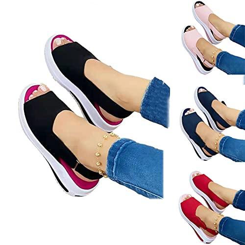 KXHWSH Plataforma Sandalias Verano para Mujer, Cómodas Zapatos Casuales Zapatillas De Cuña,...