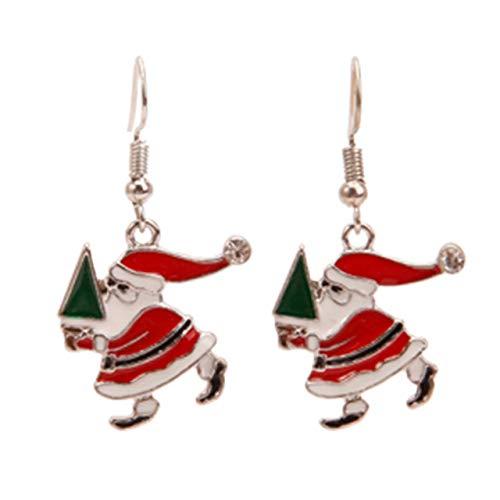 Weihnachtsohrringe Mit Weihnachtsmann Schneeflocke Elchglocke Weihnachtsbaum Anti-Allergie Ohrring Anhänger