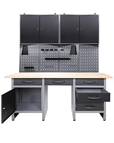Ondis24 Werkstatteinrichtung mit LED Beleuchtung, 160 cm breit, Werkbank, Werkzeugschrank,...