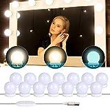 Yideng Luces de espejo de vanidad, luces de espejo de Hollywood USB, luz de maquillaje adhesiva, luz...