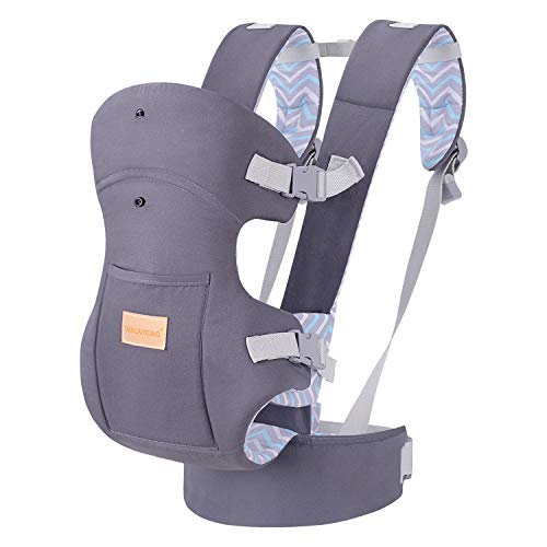 TIANCAIYIDING Ergonomic Baby Carrier Wrap with Hip Seat Soft Breathable Cotton Hood Air Mesh Front and Backpack Grey