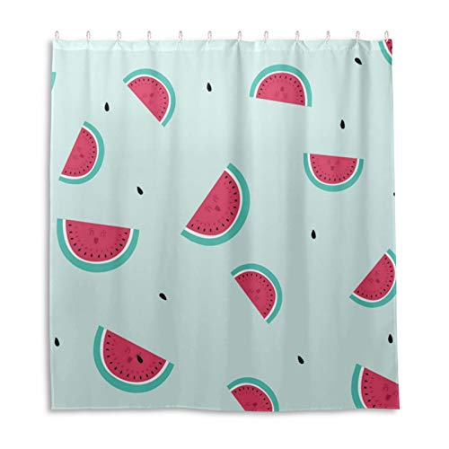 Duschvorhang, Wassermelonen-Muster, wasserdichter Stoff, Badezimmer-Duschvorhang-Set mit 12 Haken, 168 x 183 cm