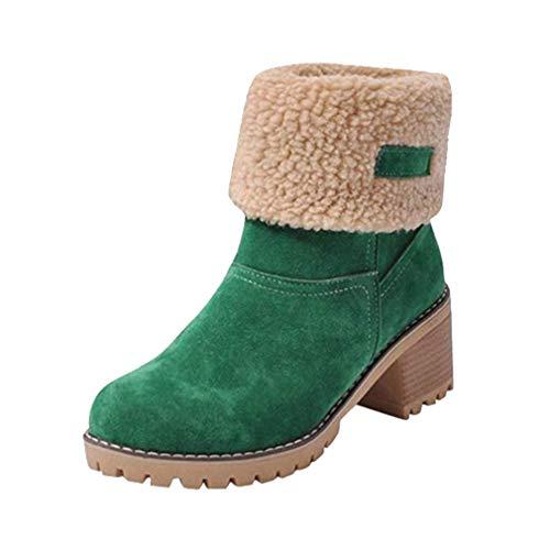 Juleya Schnee Stiefel Frauen Chunky Mid Heel Schuhe Faux Wildleder Pelz gefüttert Winter Warm Short Block Round Toe Ankle Booties für Outdoor