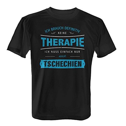 Fashionalarm Herren T-Shirt - Ich brauch Keine Therapie - Tschechien | Fun Shirt mit Spruch Urlaub Prag Brünn Karlsbrücke Veitsdom Prager Burg, Farbe:schwarz;Größe:3XL