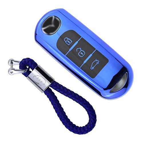 Funda de Silicona para Llave Mazda – Cover Carcasa de TPU Cromo Suave para Mazda 3/5 / 6 / MX5 / RX8 / CX-5 / CX-7 / CX-9 / BT50 / MX-5 Protección Llaveros Mando a Distancia (Azul)