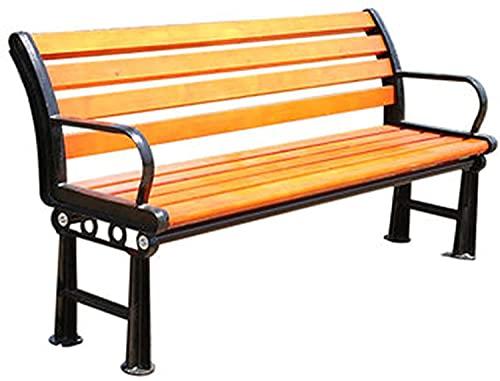wsbdking Bancos de hierro forjado de madera sólida a prueba de lluvia y solar a prueba de sol, bancos de jardín al aire libre con respaldo, parque de hierro forjado de hierro sólido asientos decorativ