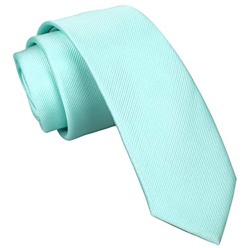 Alizeal Corbata Ajustada de Color Sólido para Hombre,9 cm de Ancho,Ideal para Fiestas y Bodas,Verde Claro
