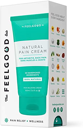 Natural Pain Cream - Powerful Pain Relief Cream for Arthritis Pain Relief, Lower Back Pain Relief, Neck Pain Relief, Joint Pain Relief, and Knee Pain Relief by The Feel Good Lab (3.4oz, 1 Count)