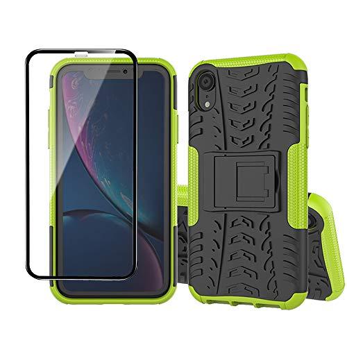 Yiakeng Coque pour Apple iPhone XR et Verre Trempé D'écran Protecteur, Silicone Antichoc Full Protection avec béquille pour Apple iPhone XR (Vert)