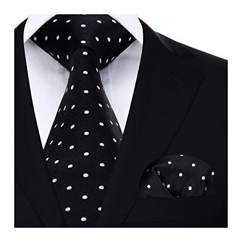 HISDERN Dot Floral Wedding Tie Panuelo para hombres Corbata y bolsillo cuadrado Pure negro/blanco