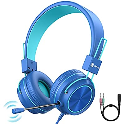 Kids Headphones with Microphone for Boys Girls, with 360° Rotatable Extendable Mic ,94 dB Volume-Safe Headphones , Wired Foldable Kids Learning Gaming Headset for PS4/Xbox One/Switch/PC/Tablet from iClever