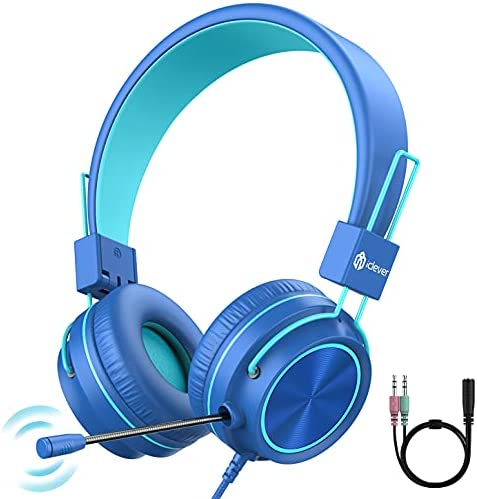 iClever HS21 Kids Headphones with Microphone for Virtual School- Rotatable Extendable Mic – 94 dB Volume-Safe Headphones for Kids, Wired Foldable Kids Gaming Headset for PS4/Xbox One/Switch/PC/Tablet