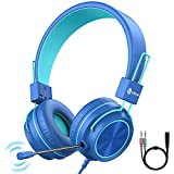 iClever Auriculares para nios con micrfono para escuela micrfono extensible giratorio, 94 dB para nios, auriculares plegables con cable para juegos para PS4/Xbox One/Switch/PC/Tablet
