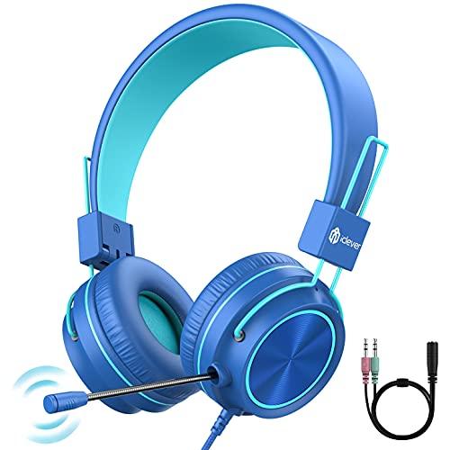 iClever HS21 Cuffie per bambini con microfono 360° ruotabile per bambini Corso di apprendimento online Cuffie con limite di volume 94dB, audio stereo per smartphone, tablet, Kindle, PC, scuola, viaggi