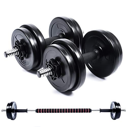 Wout ダンベル 丸形 5kg 10kg 20kg 2個セット バーベルとしても使用可能 筋トレ トレーニング (5�s×2)