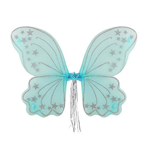 WIDMANN 82172 – Alas de purpurina Fantasy para niños, azul, hada, princesa, accesorios,...