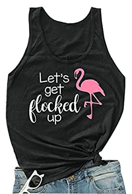 Let's Get Flocked up Tshirt Funny Flamingo Bird Tank Top Shirt Casual