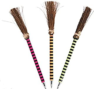 Striped Witch Broom Halloween Pens - 24 Pack (Quidditch Hogwarts Style Broom Pens)