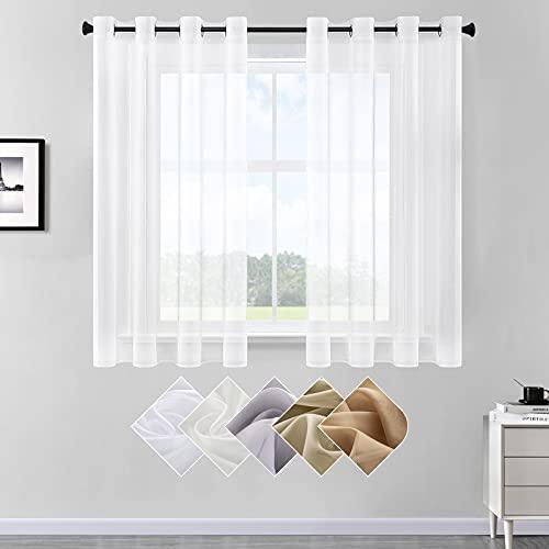 CUTEWIND Transparente Gardinen Wohnzimmer - 2er Set Voile Vorhänge Weiss Stores Gardinen Wohnzimmer Modern Ösenvorhang, H 145 x B 140 cm Weiß