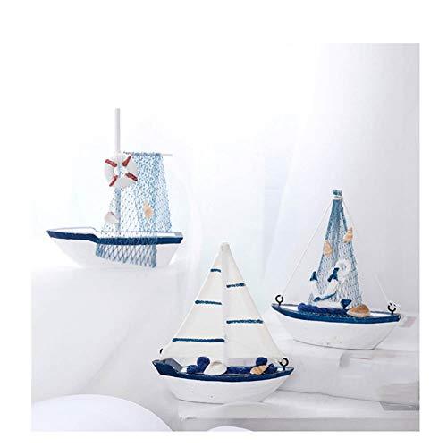 Guve Modello di Barca a Vela, Confezione da 3 Pezzi in Legno Fatto a Mano in Legno Nautico per Barche a Vela - Colore inviato a Caso